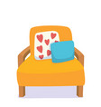 living room furniture chair pillows vector image