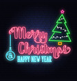 merry christmas and happy new year neon signwith vector image