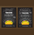 mexican cuisine fastfood tacos menu template vector image vector image