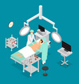 patient and doctor surgery operating isometric vector image vector image