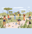 people collecting garbage in city park men and vector image vector image