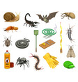 pest insects bugs animals and insecticide vector image vector image