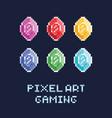 pixel art style set - diamonds vector image
