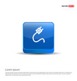 plug icon - 3d blue button vector image vector image