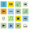 set of 16 audio icons includes skip song extract vector image vector image