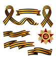 set of saint george ribbons and order of red star vector image vector image