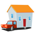 small house on delivery truck vector image vector image