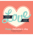 Valentines Day Invitation card template LOVE word vector image vector image