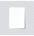 white empty paper sheet with shadow on vector image