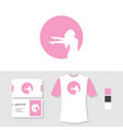 woman logo design with business card and t shirt vector image vector image