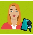 woman news smartphone reportage vector image