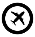 airplane icon black color in round circle vector image vector image