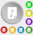 Audio MP3 file icon sign Symbols on eight flat vector image