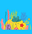 background with ocean bottom corals reefs vector image