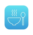 Bowl of hot soup with spoon line icon vector image vector image