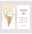 Business card template with hand drawn ice cream vector image vector image