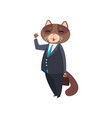 businessman cat standing with briefcase and waving vector image