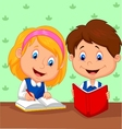 Cartoon Boy and girl study together vector image vector image