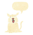 cartoon happy dog with speech bubble vector image vector image