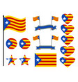 catalonia flag set collection of symbols heart vector image
