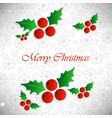 christmas card with pattern background and cherry vector image