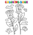 coloring book rose flower image 2 vector image vector image