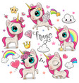 cute cartoon unicorns isolated on a white vector image vector image
