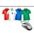 Different hangers with shirts and a computer mouse vector image