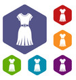dress icons set hexagon vector image vector image