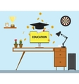 education with cap and paper trophy gold coind and vector image vector image