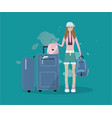 flat of young girl with baggage vector image