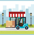 forklift delivery service icons vector image vector image