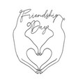 friendship day card love heart shape hands vector image