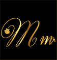 Gold letter m with roses vector image vector image