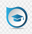 graduation cap icon geometric background im vector image