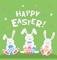 happy easter card easter cartoon bunnies vector image vector image