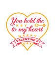 happy valentines day stamp badge card with key vector image vector image