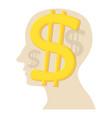 head with dollar icon cartoon style vector image