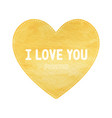 i love you lettering on yellow heart symbol vector image