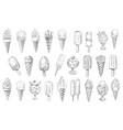 ice cream cone sundae dessert and stick sketches vector image