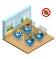 isometric children at school sit at their desks vector image vector image
