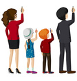 Kids and adults writing vector image vector image