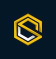 letter cs outline hexagon logo design vector image vector image