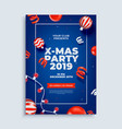 merry christmas party layout poster template with vector image vector image