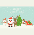 merry christmas typography and cute character vector image vector image