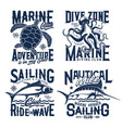 nautical marine t shirt prints sea waves turtle vector image vector image
