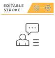 person speech editable stroke line icon vector image vector image