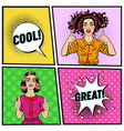 pop art beautiful woman showing thump up vector image