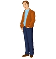 Retro man in blue pants vector image vector image
