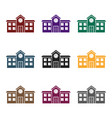 school icon in black style isolated on white vector image vector image